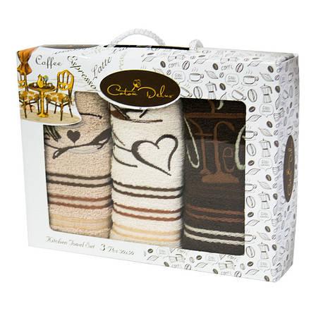 Набор полотенец для кухни Gursan Coffee 30*50 см махровые в коробке 3шт, фото 2