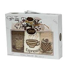 Набор полотенец для кухни Gursan Coffee 30*50 см махровые в коробке 3шт, фото 3