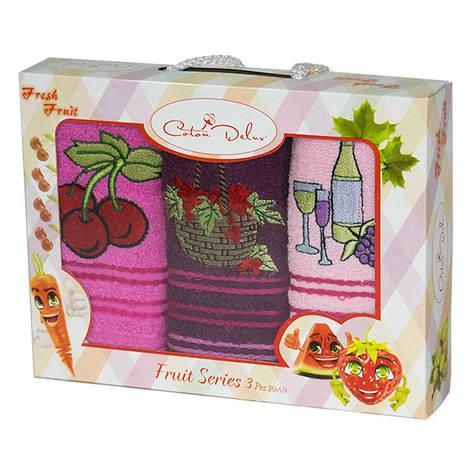 Набор полотенец для кухни Gursan Fruits 30*50 см махровые в коробке 3шт, фото 2