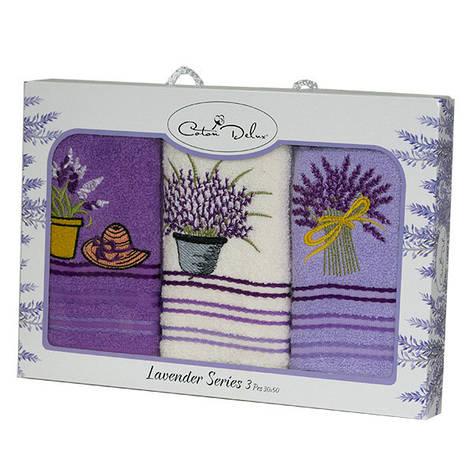 Набор полотенец для кухни Gursan Lavender 30*50 см махровые в коробке 3шт, фото 2