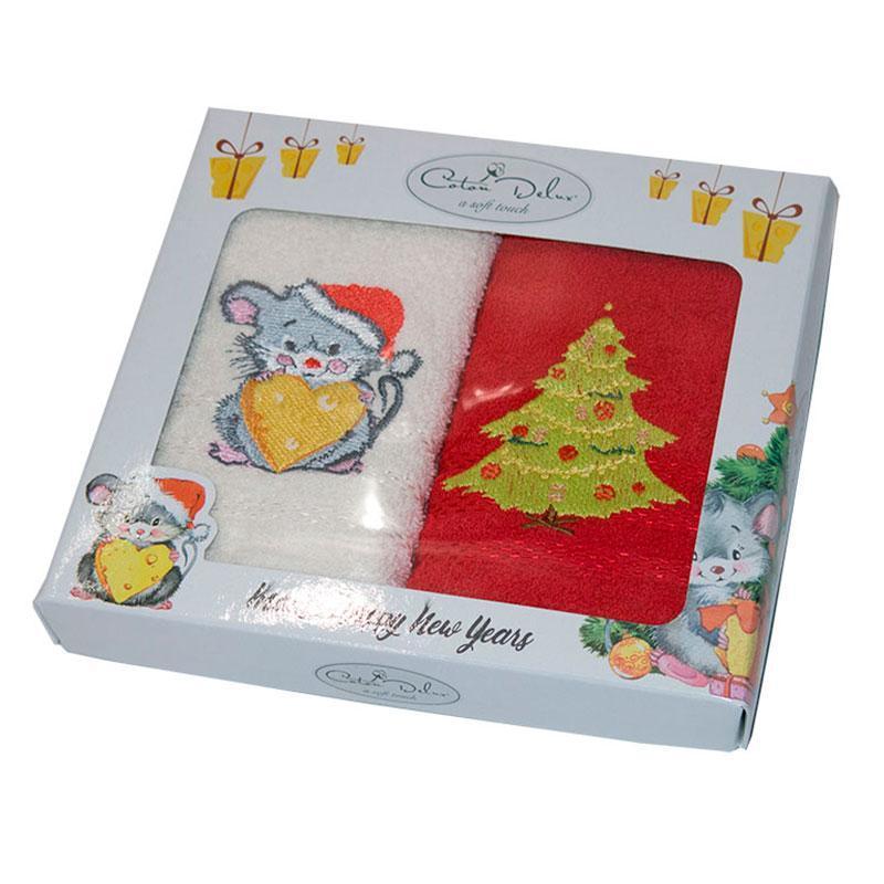 Набор полотенец для кухни Gursan Mouse Red Мышка 30*50 см махровые в коробке новогодние красные 2шт
