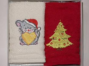 Набор полотенец для кухни Gursan Mouse Red Мышка 30*50 см махровые в коробке новогодние красные 2шт, фото 2