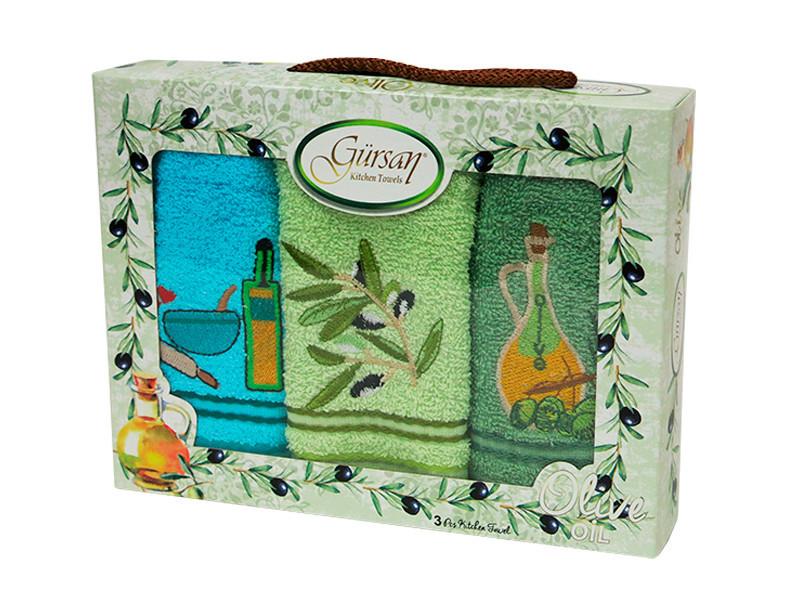 Набор полотенец для кухни Gursan Olive 30*50 см махровые в коробке 3шт