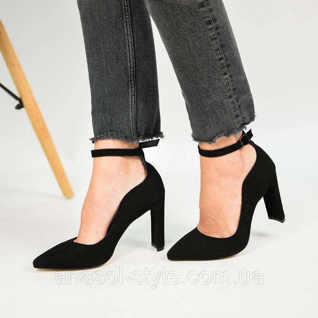 Туфли лодочки Nivelle  кожаные широкий каблук черные