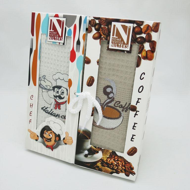 Набор полотенец для кухни Nilteks Books Coffee Chef 50*90 см вафельные в коробке 2шт