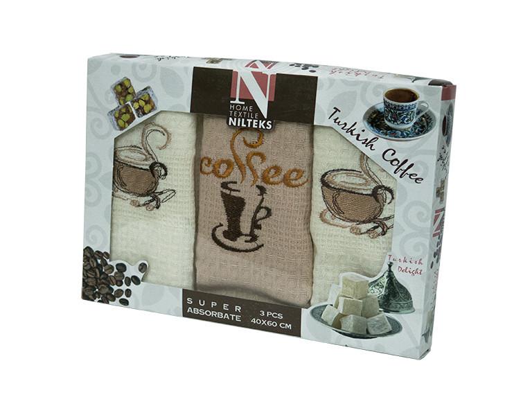 Набор полотенец для кухни Nilteks Coffee 40*60 см вафельные в коробке 3шт