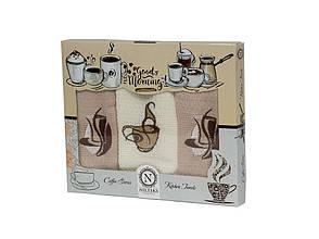Набор полотенец для кухни Nilteks Coffee 40*60 см вафельные в коробке 3шт, фото 2