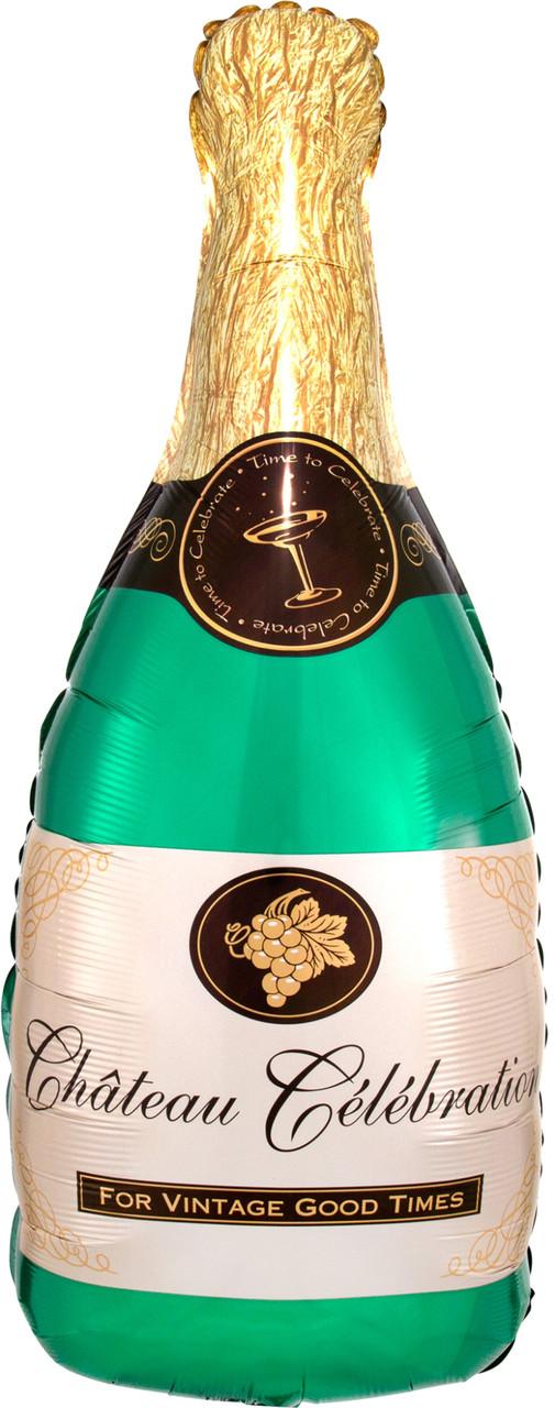 Фол шар фигура Бутылка шампанского Зеленая (Анаграм)