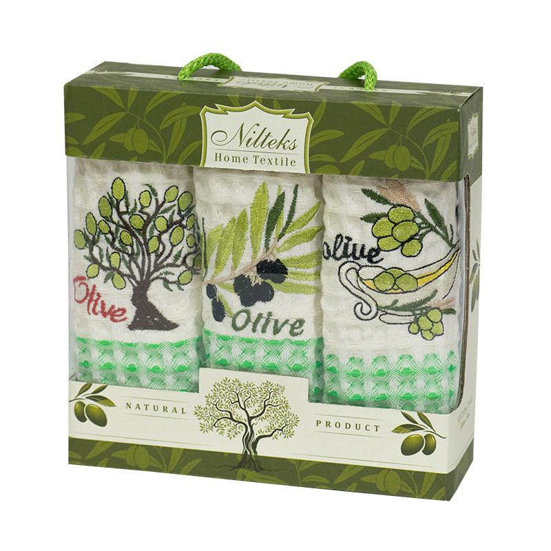 Набор полотенец для кухни Nilteks Olive 35*50 см вафельные в коробке 3шт