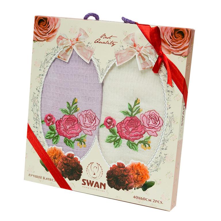 Набор полотенец для кухни Swan Rose 45*65 см вафельные в коробке 2шт