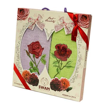 Набор полотенец для кухни Swan Rose 45*65 см вафельные в коробке 2шт, фото 2