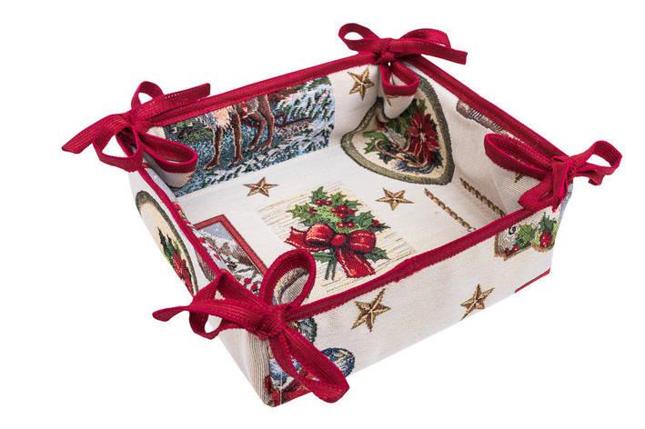 Хлебница LiMaSo Рождественские традиции 20*20*8 см гобеленовая новогодняя арт.EDEN535-KH.20x20x8, фото 2