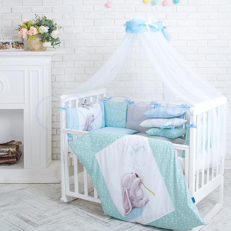 Комплект в ліжечко Маленька соня Akvarel Кульбаба поплін стандарт/овал з бортиками 6 предметів дитячий