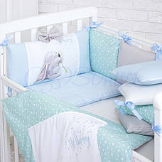 Комплект в ліжечко Маленька соня Akvarel Кульбаба поплін стандарт/овал з бортиками 6 предметів дитячий, фото 2