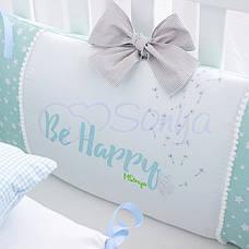 Комплект в ліжечко Маленька соня Akvarel Кульбаба поплін стандарт/овал з бортиками 6 предметів дитячий, фото 3