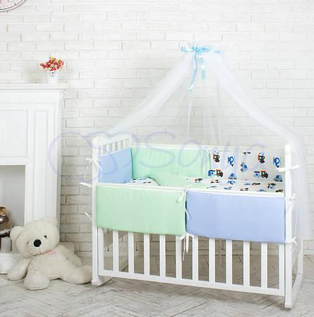 Комплект в кроватку Маленькая соня Comfort Автопарк поплин стандарт с бортиками 6 предметов детский арт.022982, фото 2