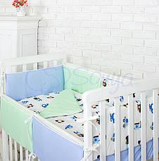 Комплект в кроватку Маленькая соня Comfort Автопарк поплин стандарт с бортиками 6 предметов детский арт.022982, фото 3