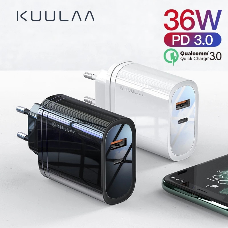 Зарядное устройство KUULAA KL-CD12 36 вт Быстрая зарядка Quick Charge QC3.0 USB/PD Black