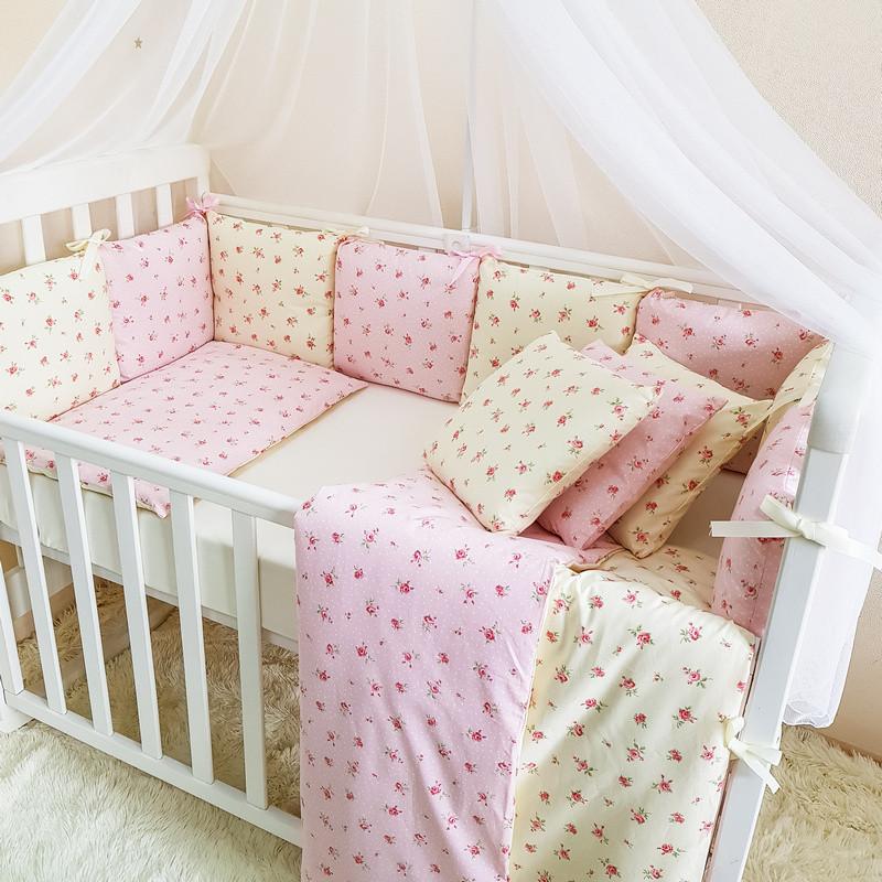 Комплект в кроватку Маленькая соня Baby Прованс №57 поплин стандарт/овал с бортиками 7 предметов детский
