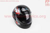 Шлем для мото скутер мопед закрытый HF-101 РАЗМЕР S- ЧЕРНЫЙ с красно-серым рисунком Q23-R(KUROSAWA)