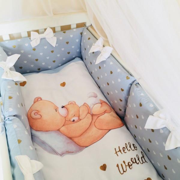 Комплект в ліжечко Маленька соня Happy Baby поплін стандарт з бортиками 7 предметів дитячий блакитний