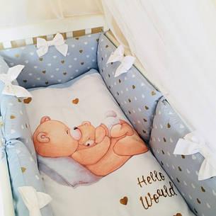 Комплект в ліжечко Маленька соня Happy Baby поплін стандарт з бортиками 7 предметів дитячий блакитний, фото 2