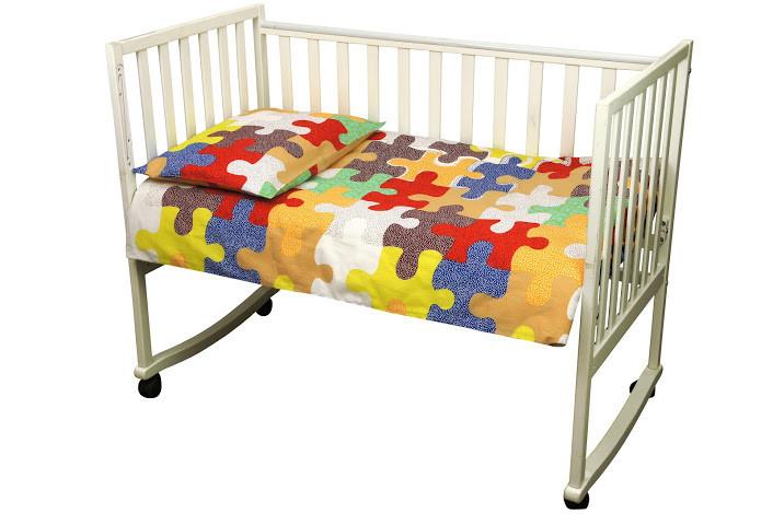 Комплект постільної білизни в ліжечко Руно Пазли дитячий бязь арт.932.116_Пазли01