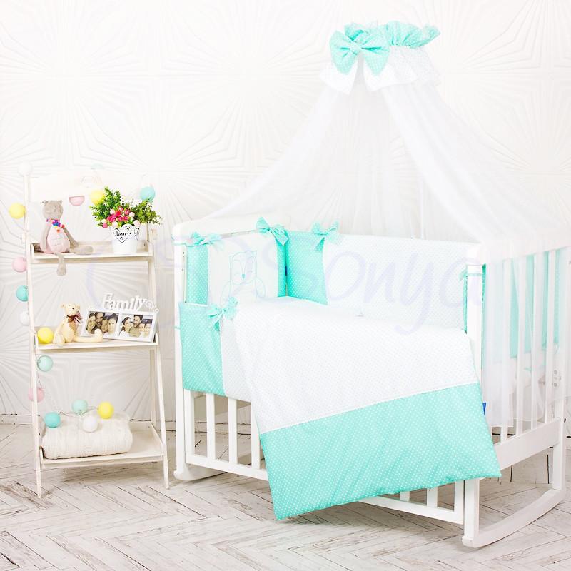 Комплект постельного белья в кроватку Маленькая соня Smile детский поплин стандарт мятный арт.033247