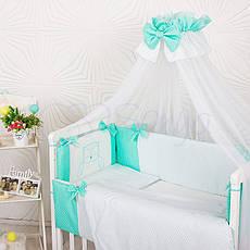 Комплект постельного белья в кроватку Маленькая соня Smile детский поплин стандарт мятный арт.033247, фото 3