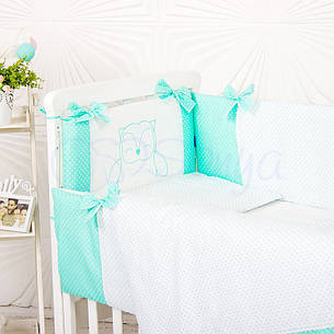 Комплект постельного белья в кроватку Маленькая соня Smile детский поплин стандарт мятный арт.033247, фото 2
