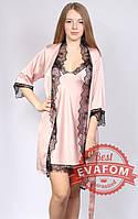 Комплект из шелка халат + ночнушка +шорты + майка