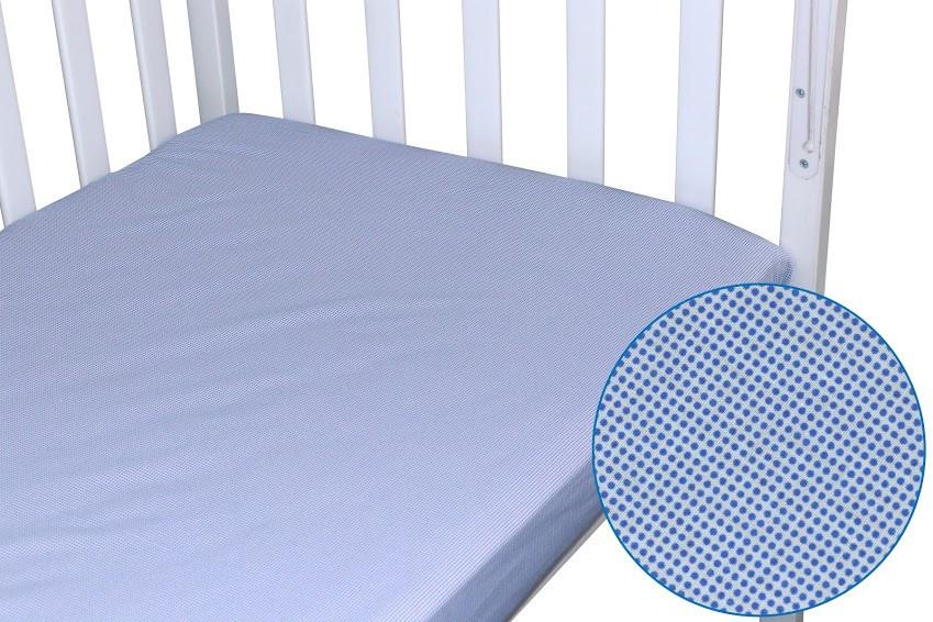 Простынь Руно детская 60*120 см на резинке синяя бязь арт.918.114_синій