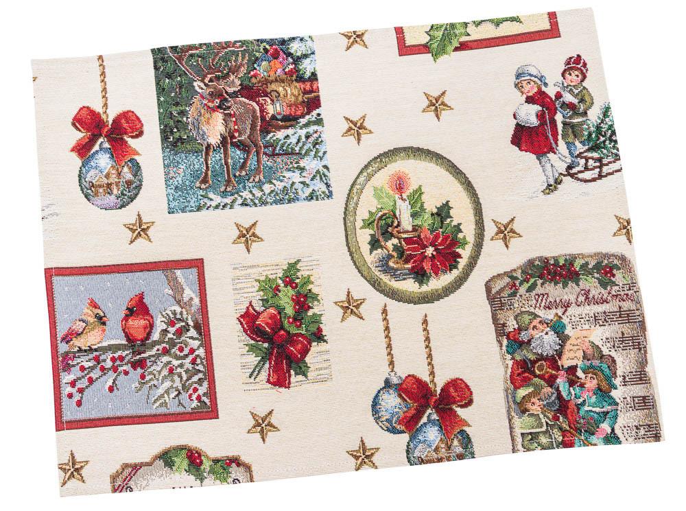 Салфетка-подкладка для кухни LiMaSo Рождественские традиции 34*44 см гобеленовая новогодняя
