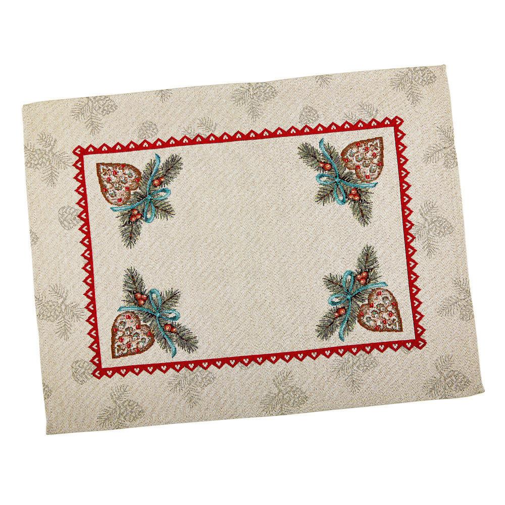 Салфетка-подкладка для кухни LiMaSo Елочная композиция 37*49 см гобеленовая новогодняя арт.RUNNER335-49.37х49