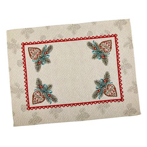Салфетка-подкладка для кухни LiMaSo Елочная композиция 37*49 см гобеленовая новогодняя арт.RUNNER335-49.37х49, фото 2