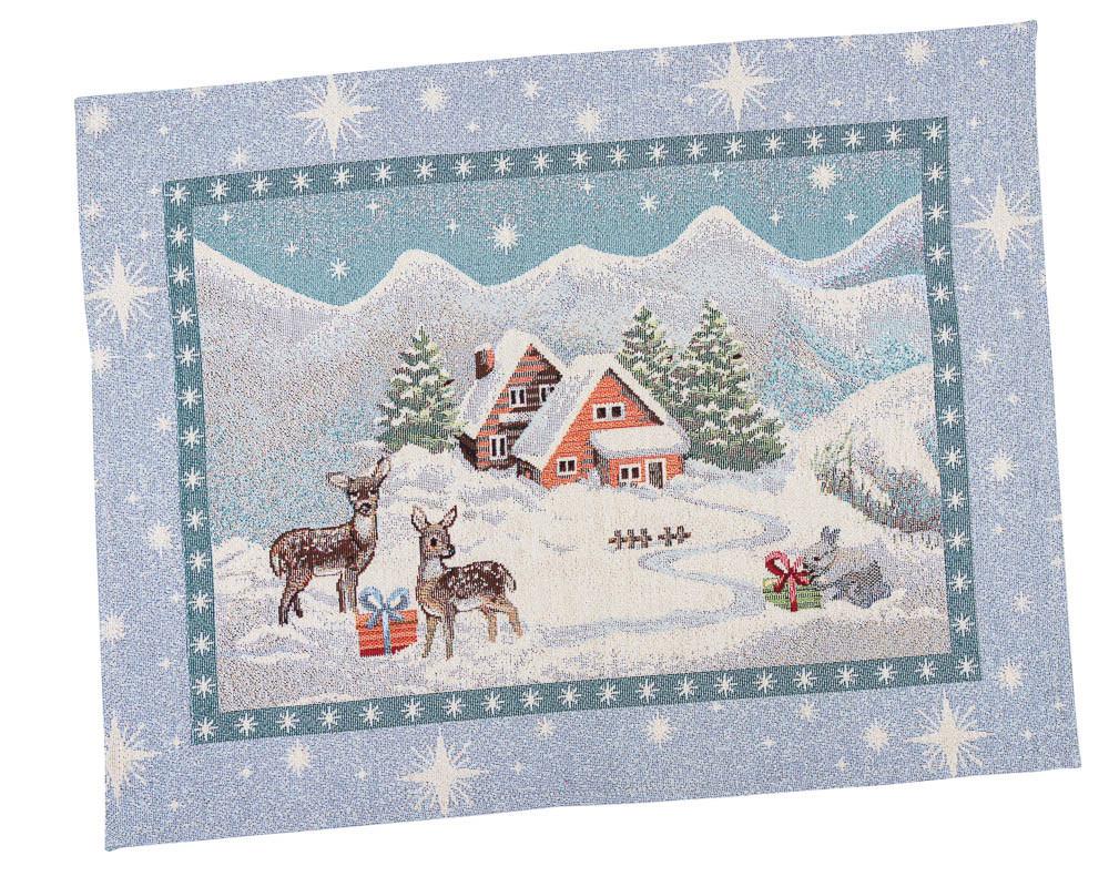Салфетка-подкладка для кухни LiMaSo Путешествие Санты 37*49 см гобеленовая новогодняя арт.RUNNER657-49.37х49