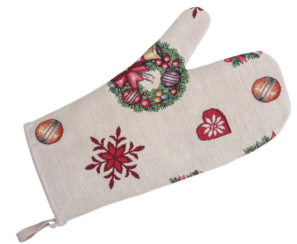 Прихватка-рукавица LiMaSo Игрушечный звездопад 17*30 см гобеленовая новогодняя арт.EDEN155-RK.17х30