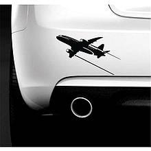 """Наклейка на автомобиль """"Самолёт"""", 20 см х 12.3 см, чёрная"""
