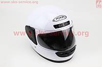 Шлем для мото скутер мопед  закрытый HF-101 размер M- БЕЛЫЙ глянец (FXW)