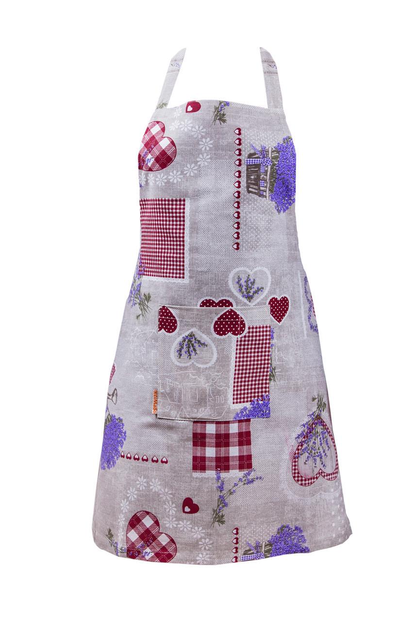 Фартук для кухни LiMaSo Лаванда с красными сердцами 60*75м хлопковый детский арт.LCS05.60x75