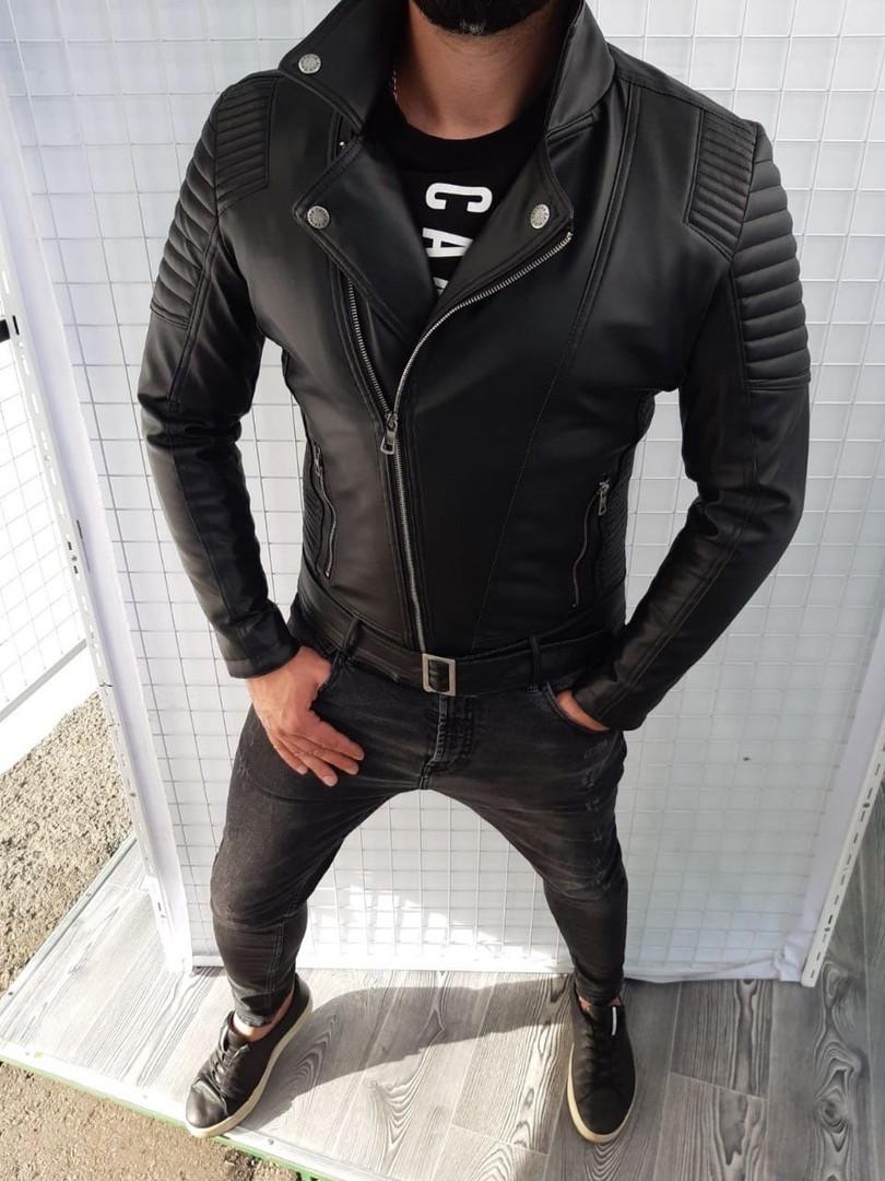 Мужская черная кожанка, мужская черная косуха