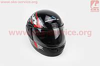 Шлем для мото скутер мопед закрытый HF-101 размер М- ЧЕРНЫЙ с красно-серым рисунком