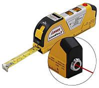 Лазерный уровень laser level pro 3 со встроенной рулеткой 2,5 метра, фото 1