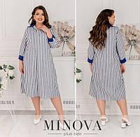 Лляне плаття жіноче міді (2 кольори) ОМ/- 836 - Темно-синій, фото 1