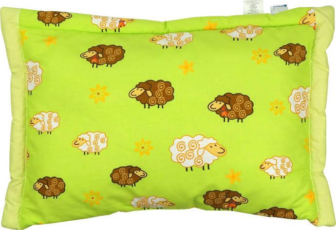 Подушка детская Руно 40*60 см бязь/овечья шерсть салатовая арт.309.02ШУ_салатовий, фото 2