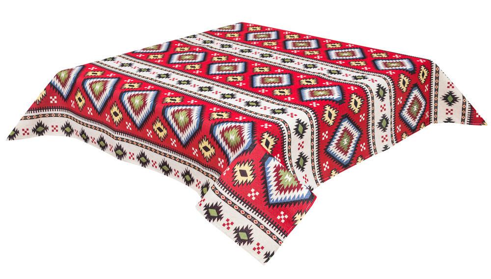 Скатертина LiMaSo Карпатські мотиви червона гобеленова 137*280см арт.JAIMA035-280.137х280