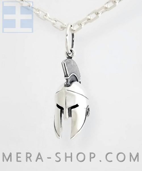 Серебряный кулон шлем Спарты (33 х 22 х 14 мм, серебро 925 пробы, 12 г)