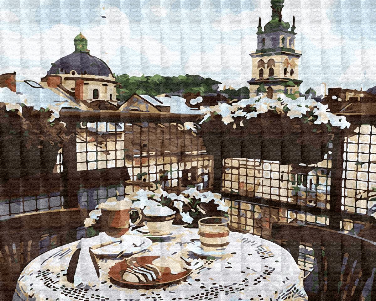 Картина по номерам Кофе на крыше Львова GX34174 Brushme 40 х 50 см (без коробки)