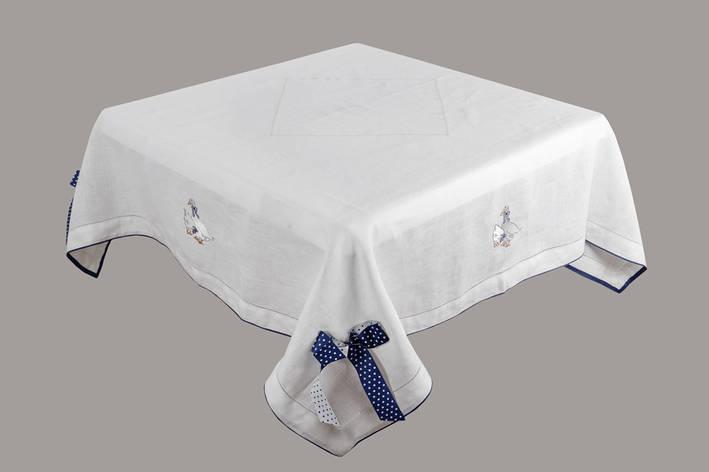 Скатерть Limaso Гуси 140*140 см льняная белая арт.GU01.140x140, фото 2