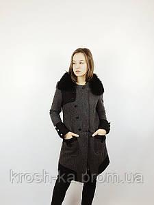 Пальто демисезонное женское Nysense Франция серое 9112